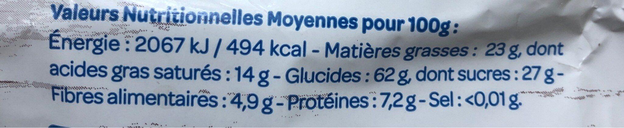 2 Galettes De Riz Au Chocolat Noir Bio - Valori nutrizionali - fr