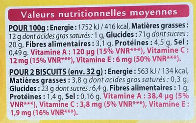 Tartelettes Framboise Myrtille Grenade - Nutrition facts - fr