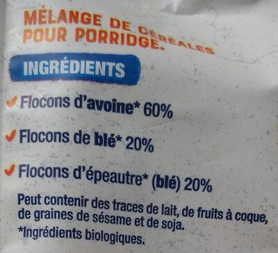 Porridge 3 céréales - Ingrediënten - fr
