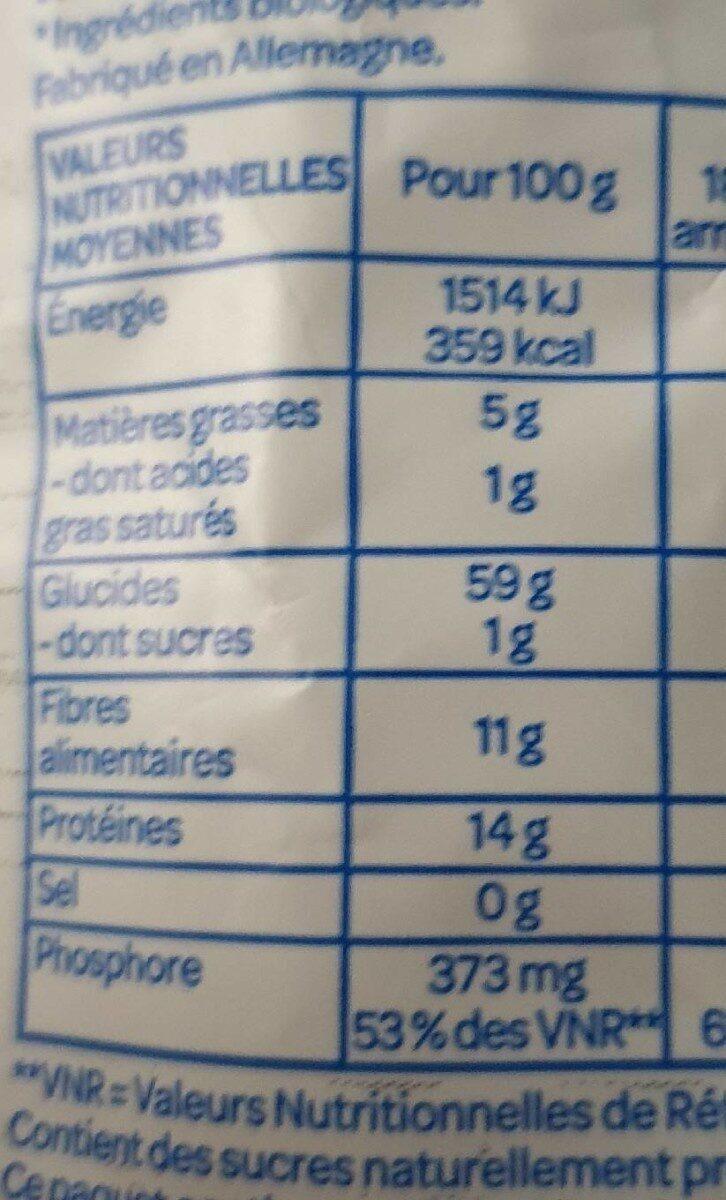 Porridge 3 céréales - Voedingswaarden - fr