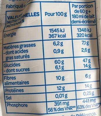 Porridge figue framboise - Nutrition facts