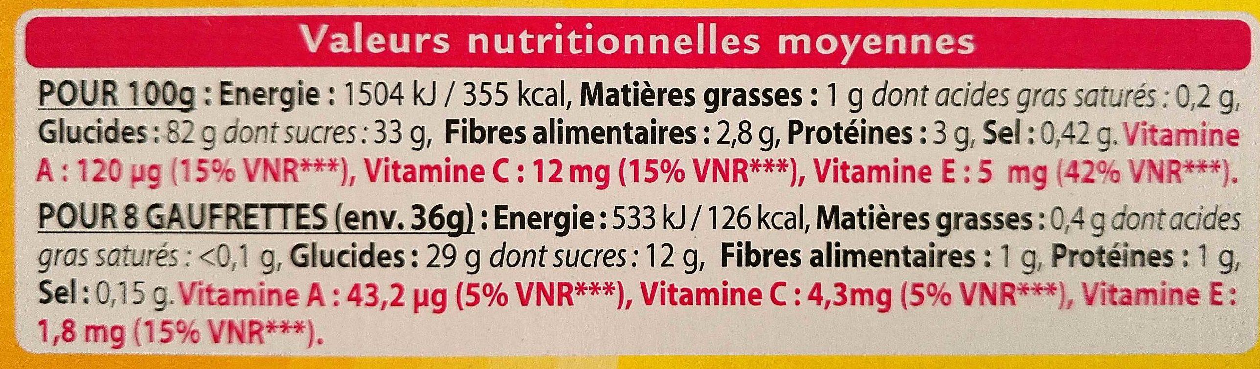 Gaufrettes grenade cranberry - Informations nutritionnelles