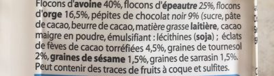 Muesli chocolat 3 céréales & 3 graines - Ingrédients