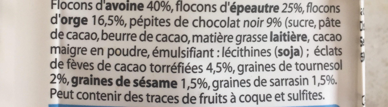 Muesli Chocolat 3 Céréales & 3 Graines - Ingrédients - fr