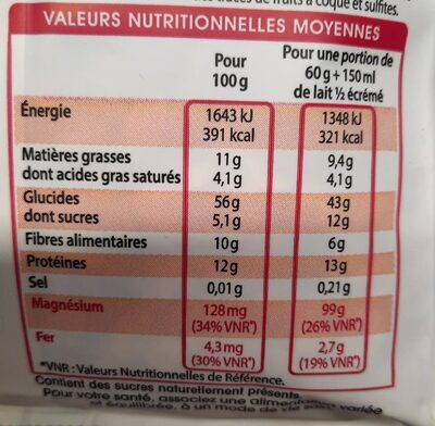 Muesli Chocolat 3 Céréales & 3 Graines - Informations nutritionnelles - fr