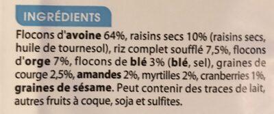 Muesli Superfruits - Ingrédients - fr