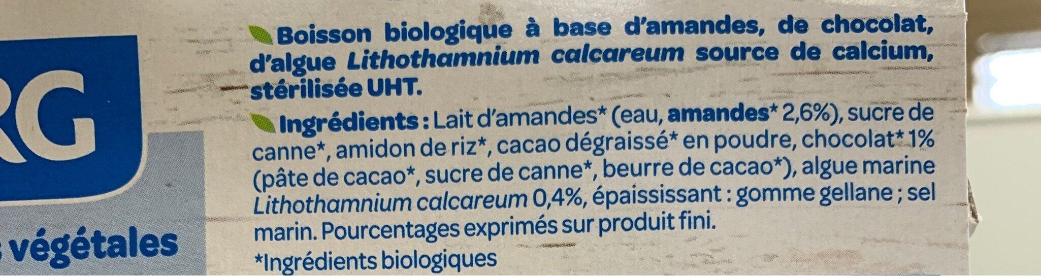 Lait d'Amande Chocolat - Ingredients