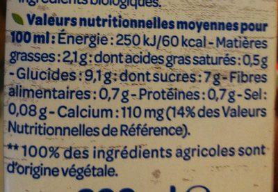 Lait d'Amande Chocolat - Nutrition facts