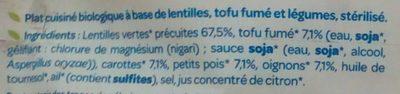 Lentilles Tofu Fumé Petits Légumes - Ingrédients