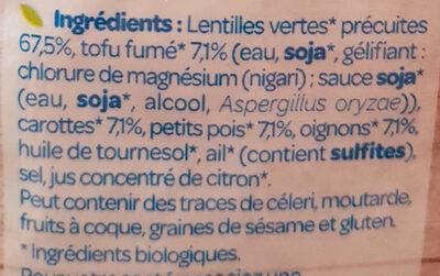 Lentilles Petits Légumes Tofu Fumé - Ingrédients - fr