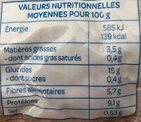 Lentilles Petits Légumes Tofu Fumé - Informations nutritionnelles - fr