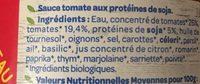 Sauce tomate façon bolognaise sans viande bio - Ingrédients
