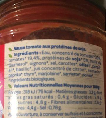 Sauce tomate façon bolognaise sans viande bio - Informations nutritionnelles