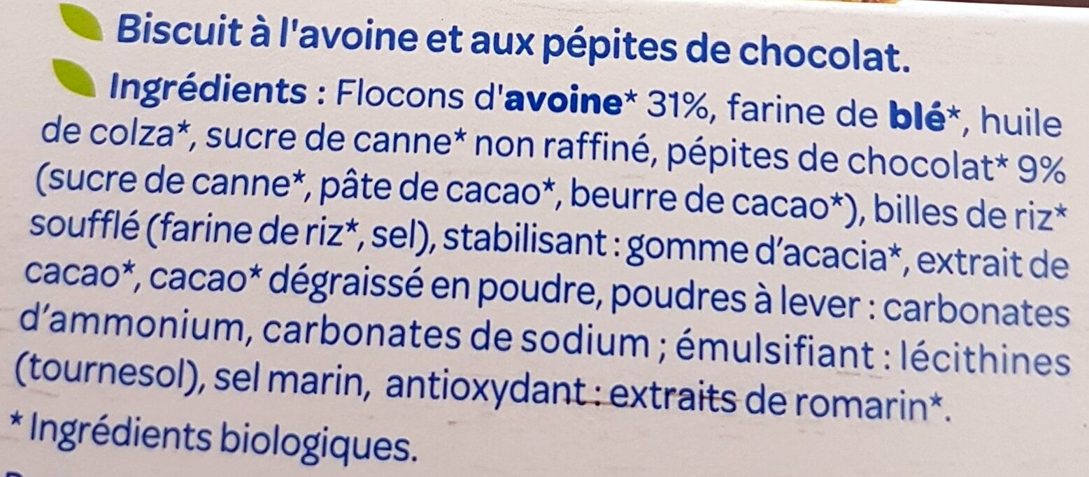 Bjorg avoine chocolat - Ingrediënten - fr