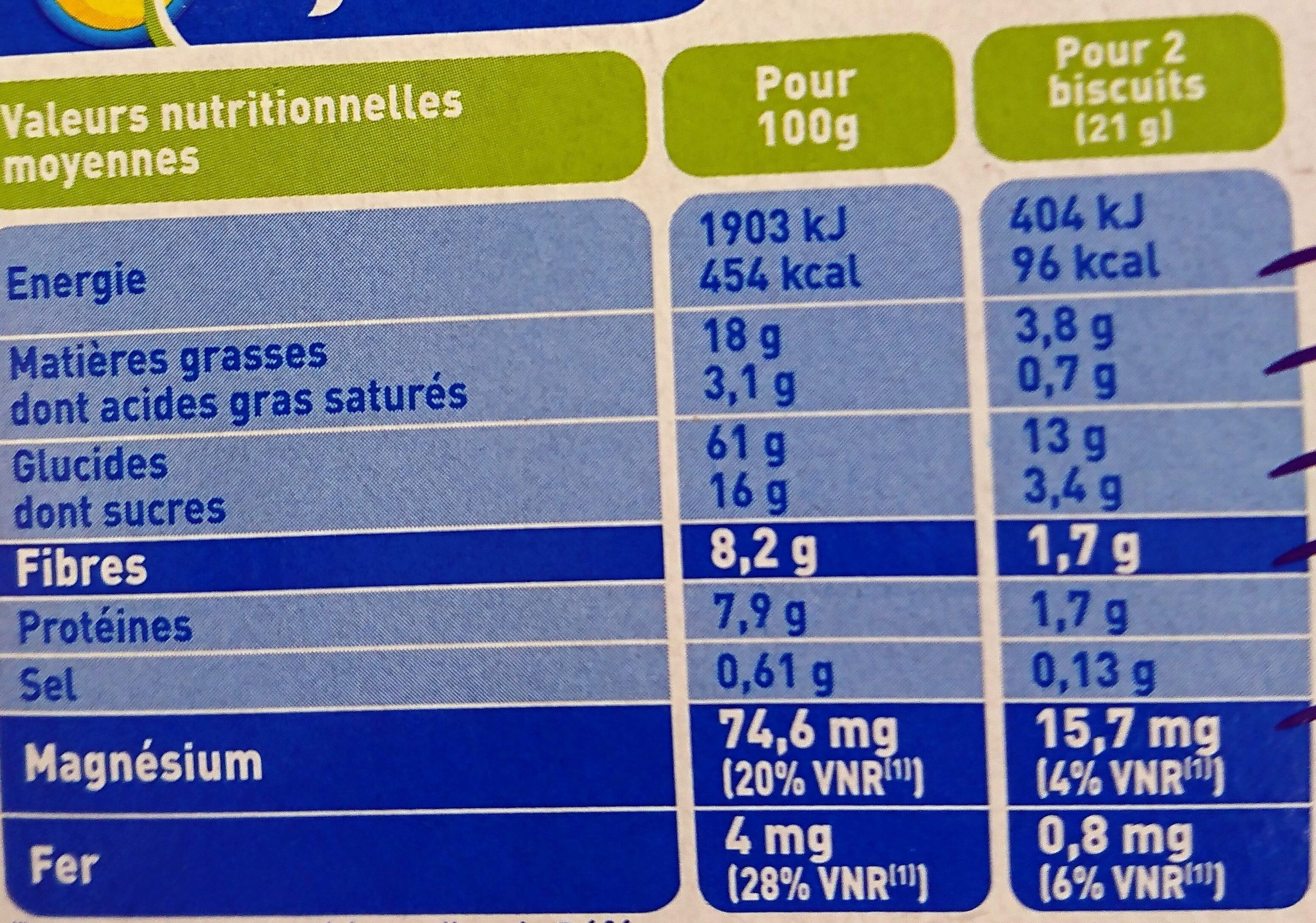 Bjorg avoine chocolat - Voedingswaarden - fr