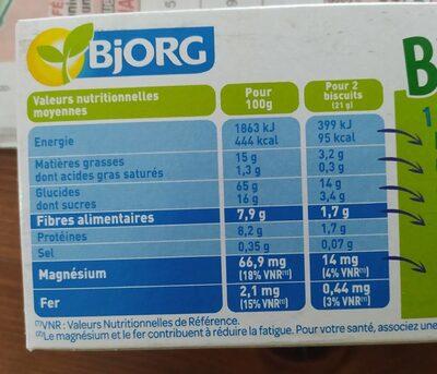 Biscuits avoine complet - Voedingswaarden - fr