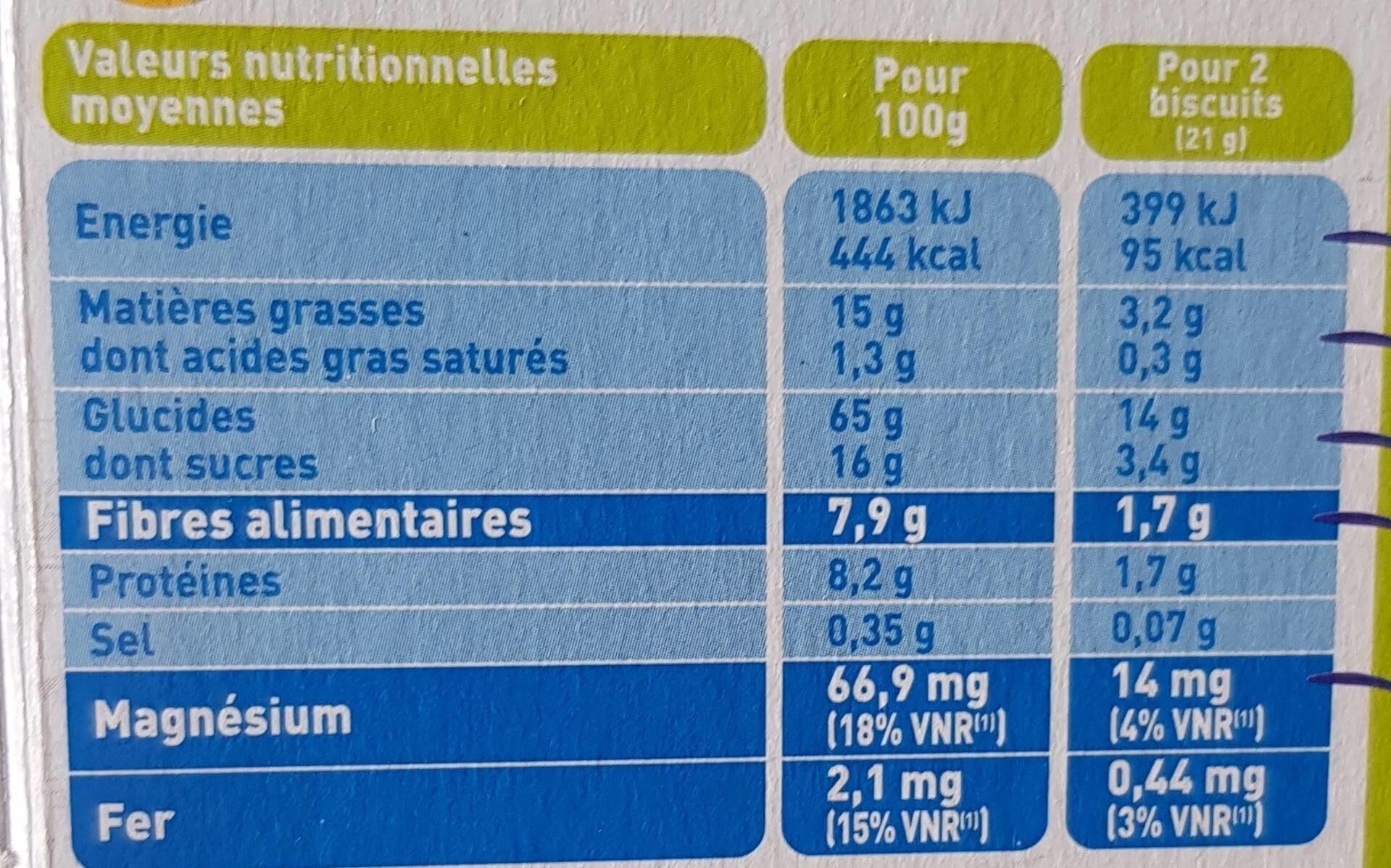Bjorg avoine complet bio nutri+ - 营养成分 - fr
