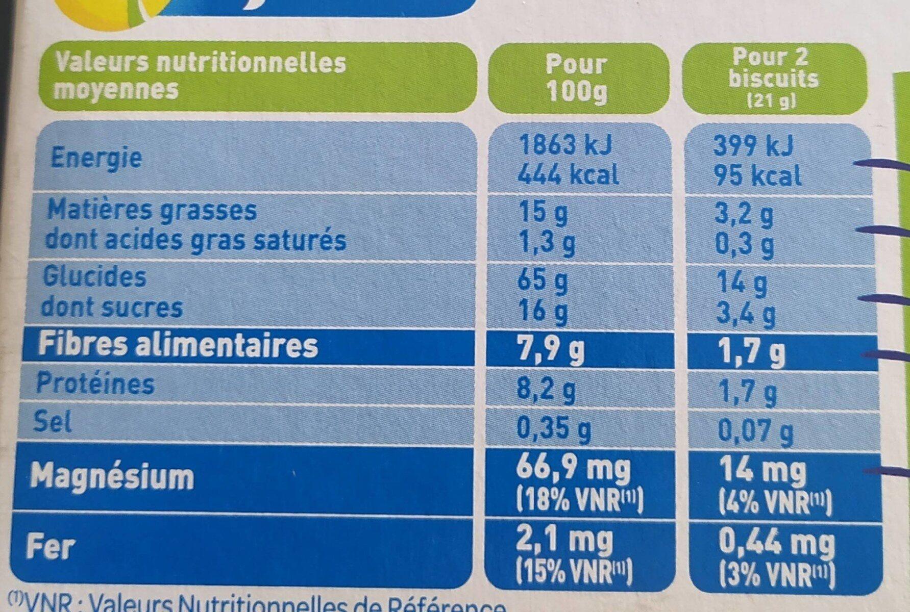 Biscuit avoine ble complet - Nährwertangaben - fr