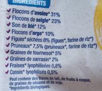 Muesli Fibres Son de Blé, Figues, Pruneaux - Ingrédients - fr