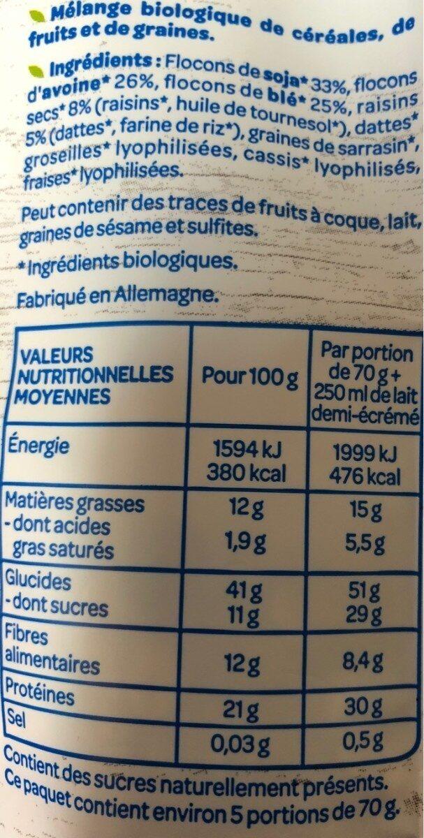 Muesli Protéinés Soja Dattes - Valori nutrizionali - fr