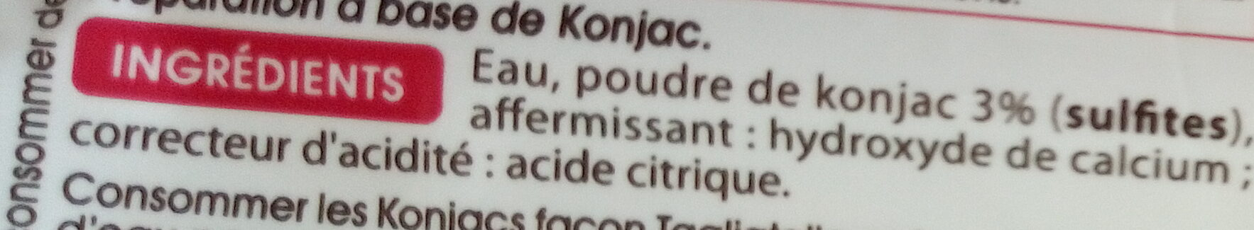 Tagliatelle de Konjac - Ingrédients - fr