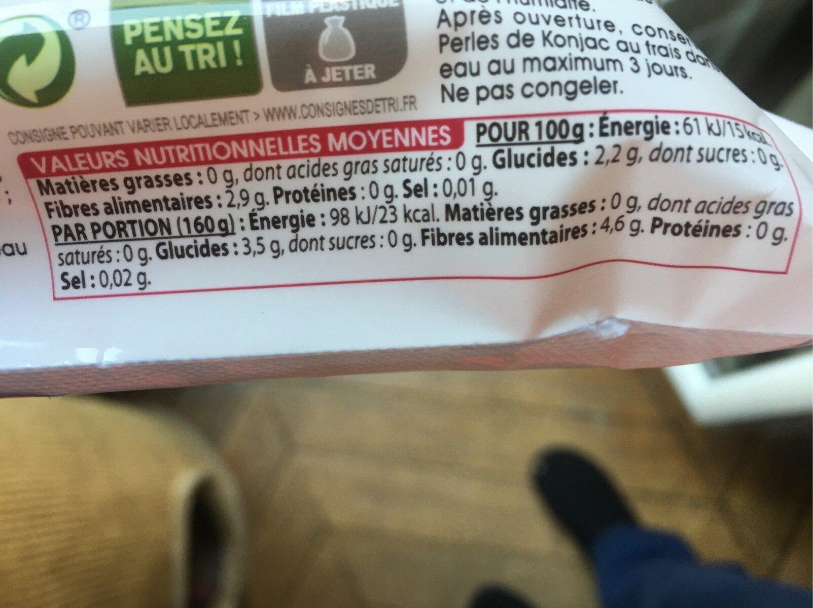 Perles de konjac - Informations nutritionnelles - fr