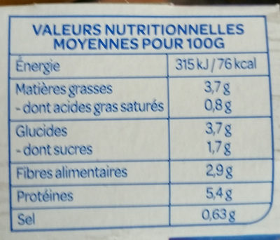 Petits légumes tofu et pointe de coco - Informations nutritionnelles