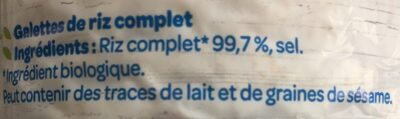 Galette riz complet 19 galettes environ - Ingrédients - fr