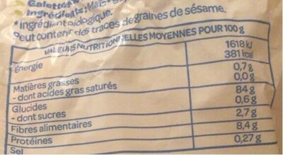 Galettes extra-fines maïs - Nutrition facts - fr
