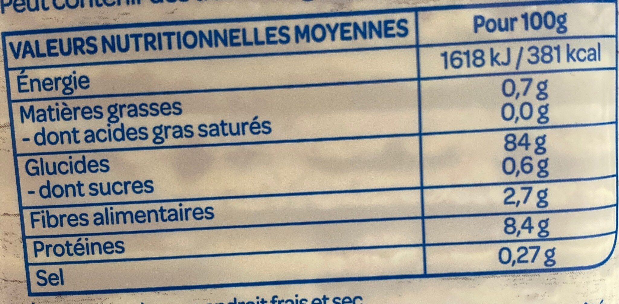 Galettes extra-fines maïs - Informations nutritionnelles - fr