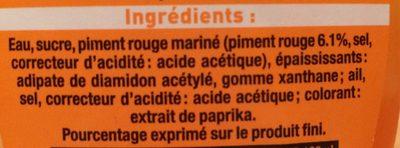 Sauce de piment sriracha mi-forte - Ingrédients