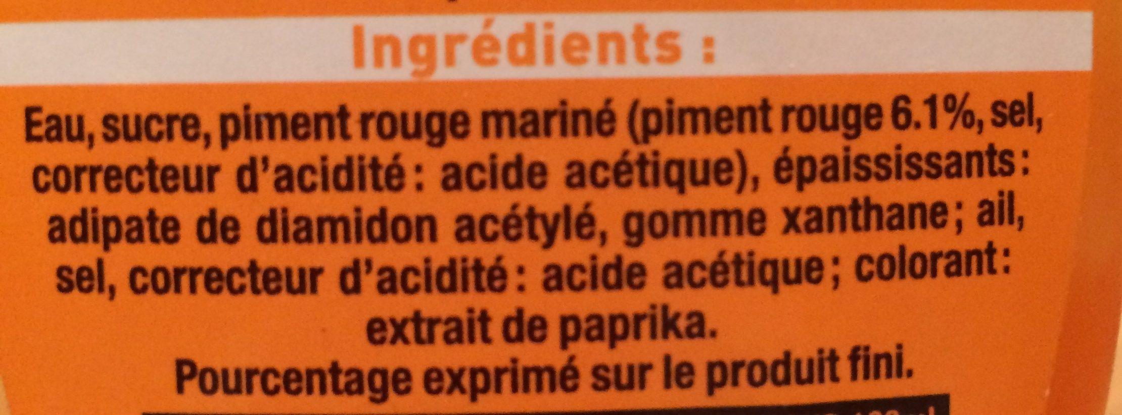 Sauce de piment sriracha mi-forte - Ingrédients - fr