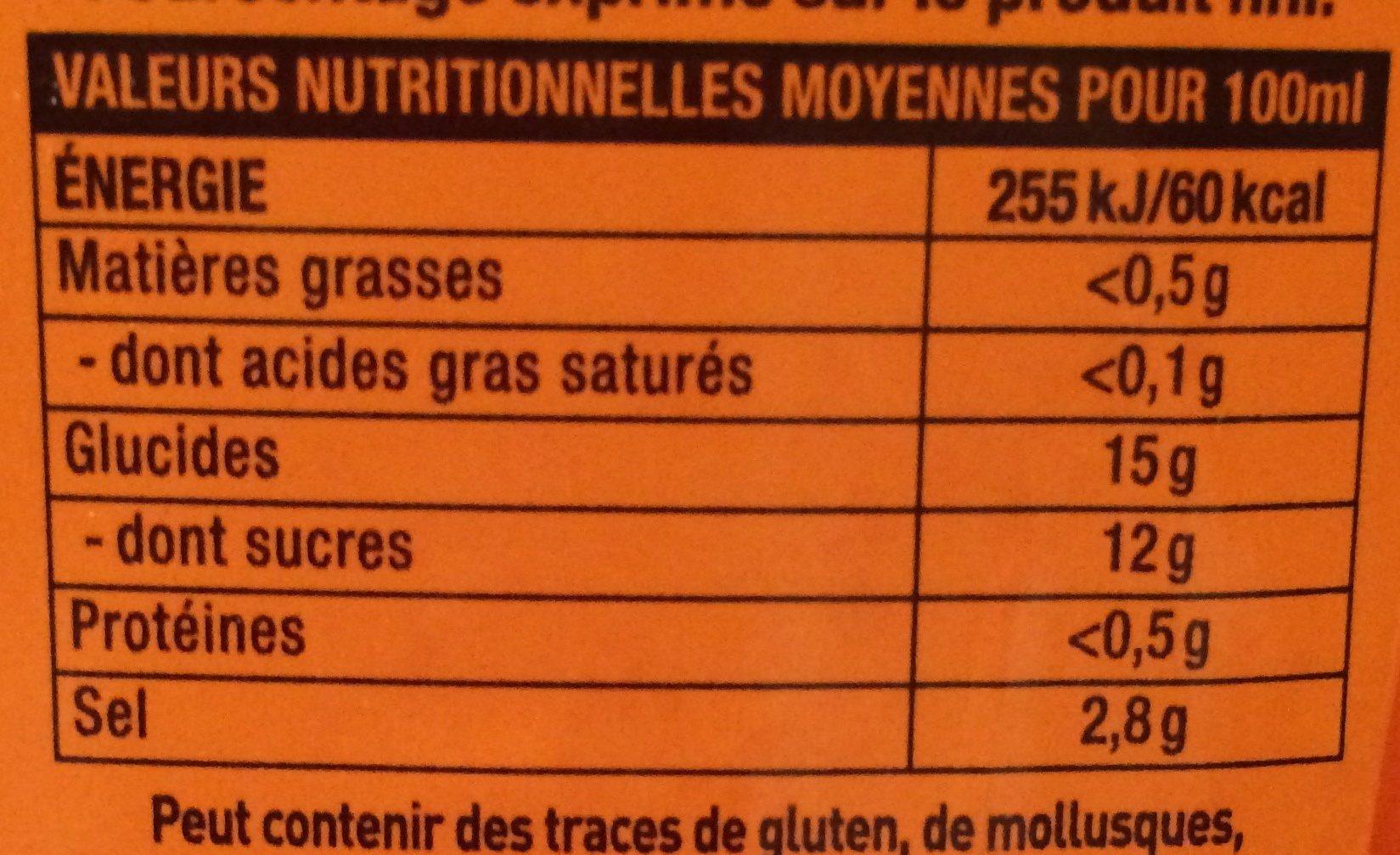 Sauce de piment sriracha mi-forte - Informations nutritionnelles
