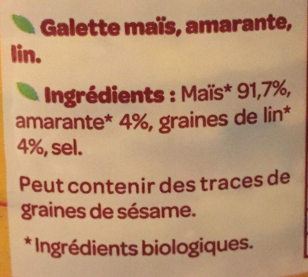 Galettes maïs, amarante, lin bio et sans gluten - Ingrédients - fr