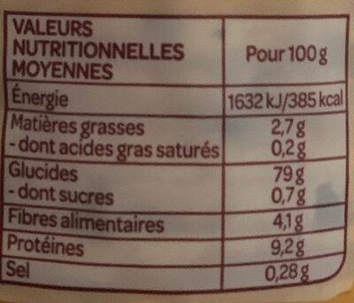 Galettes maïs, amarante, lin bio et sans gluten - Informations nutritionnelles - fr