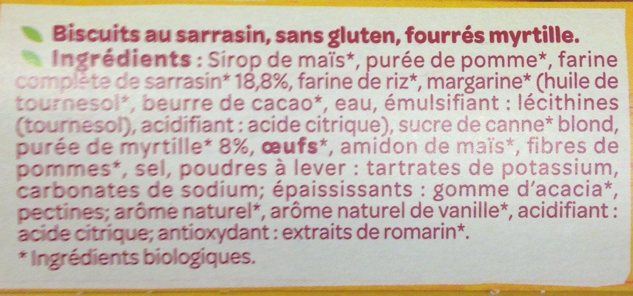 Petit fourré myrtille - Ingredients