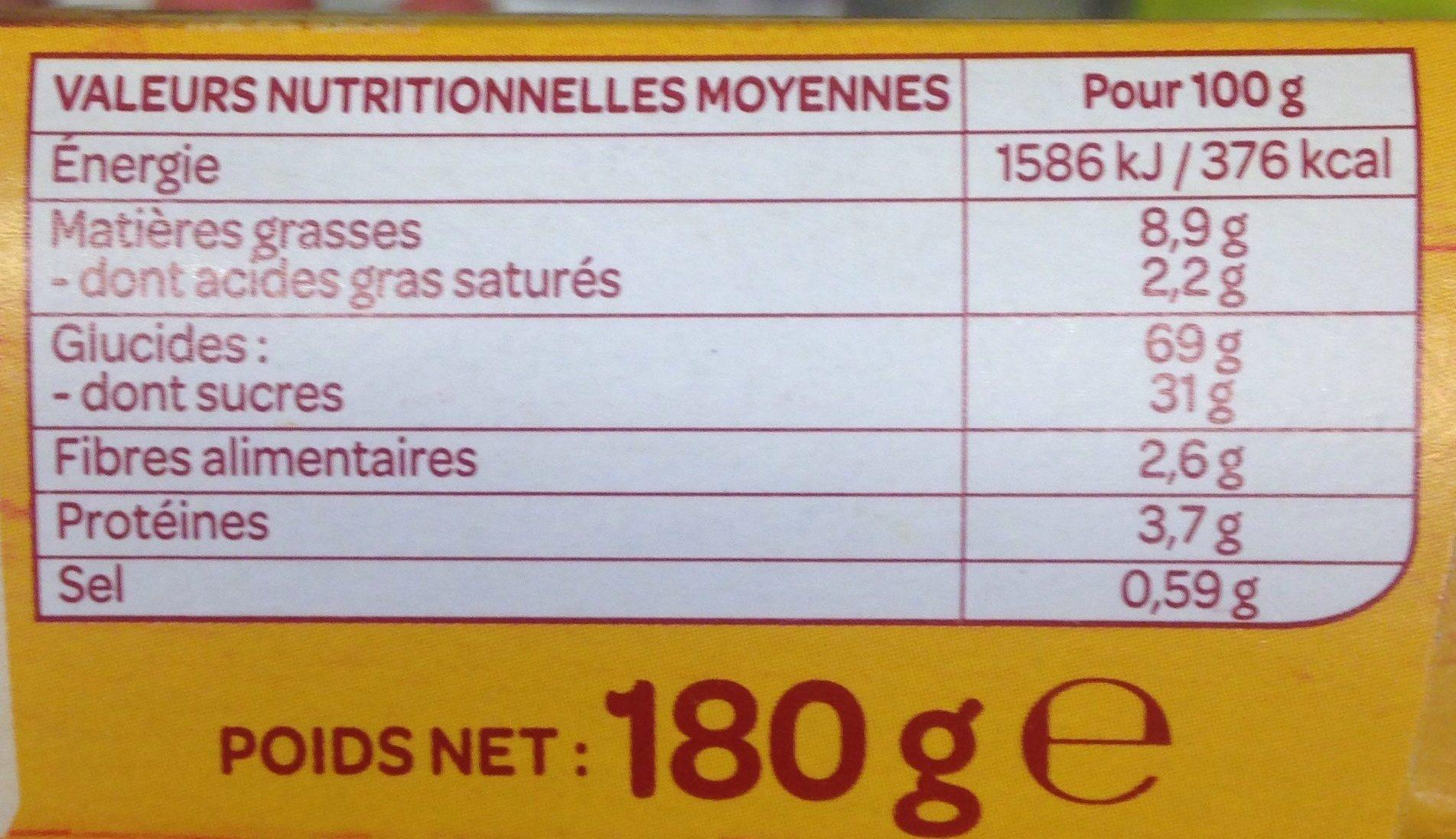 Petit fourré myrtille - Nutrition facts