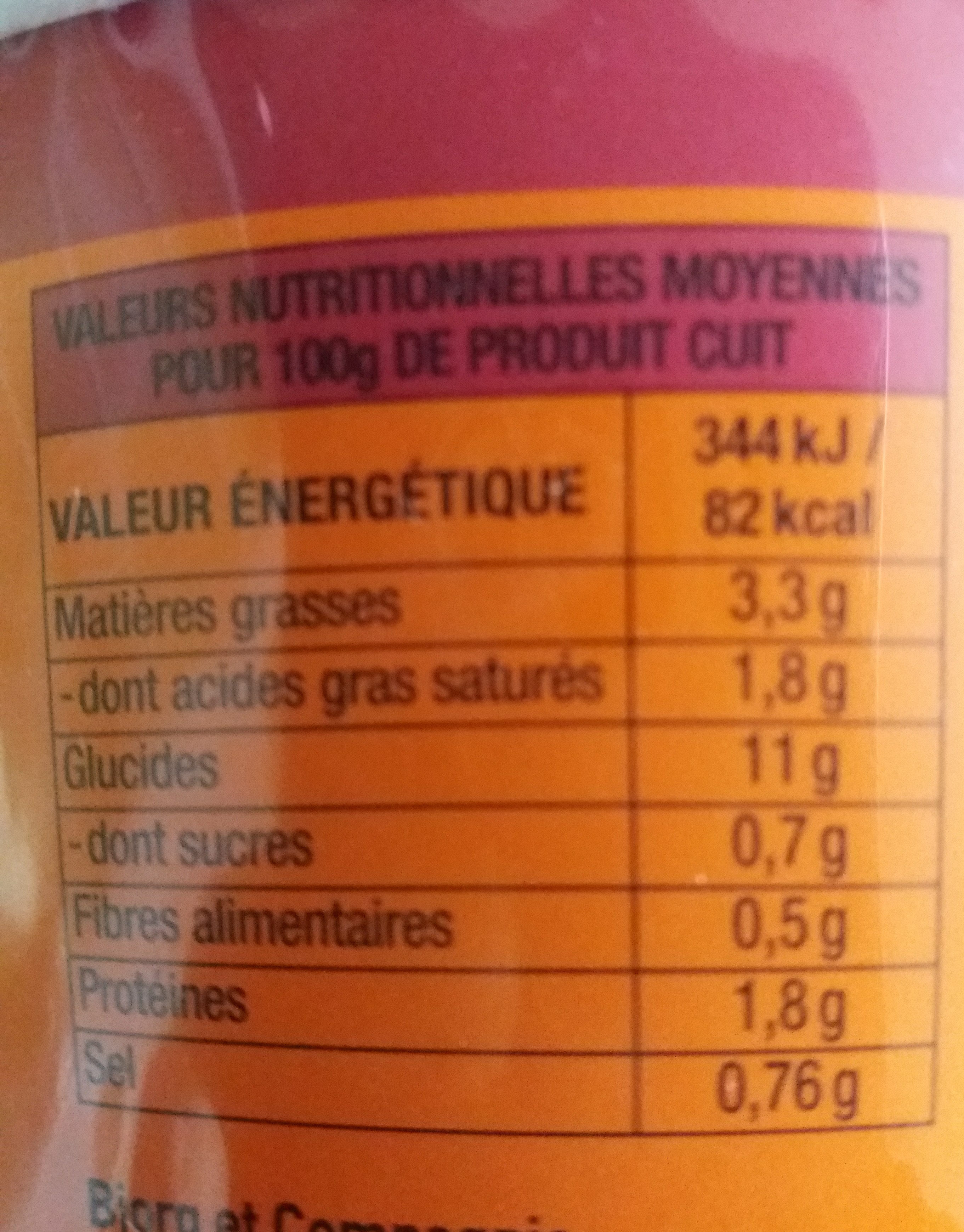 Nouilles de blé instantanée asiatiques - Informations nutritionnelles - fr
