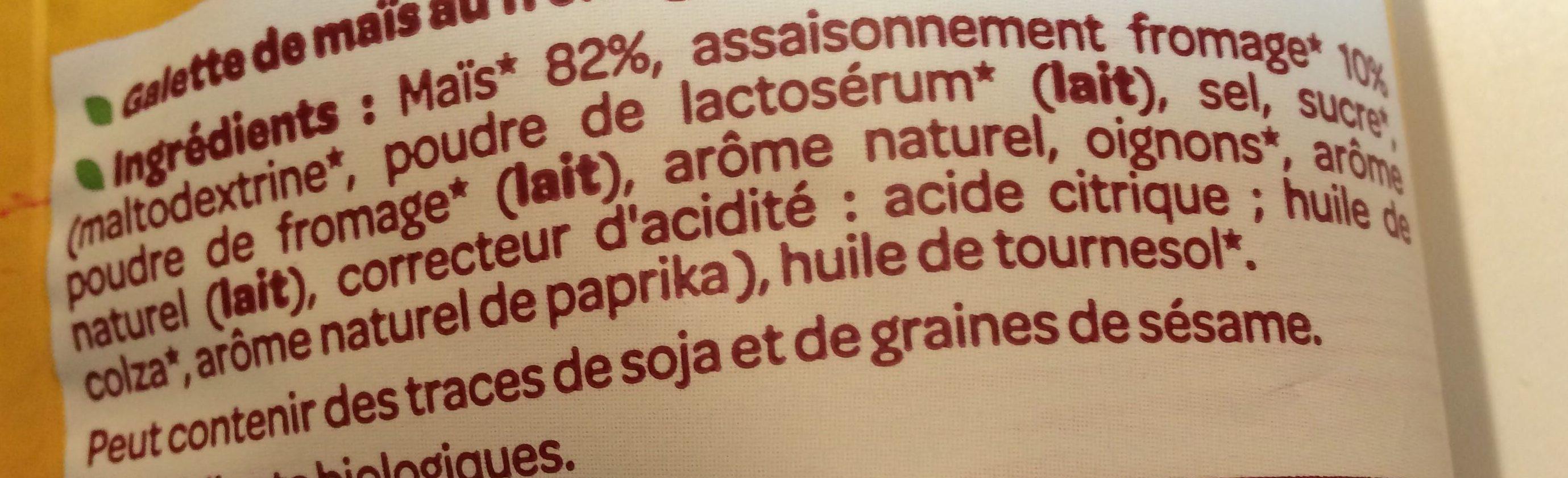 Maïs soufflés Sans Gluten et Bio Minis Fromage - Ingrédients - fr