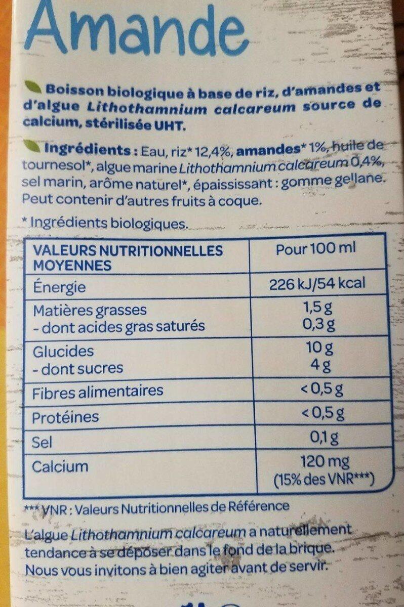 Riz amande - Informação nutricional - fr