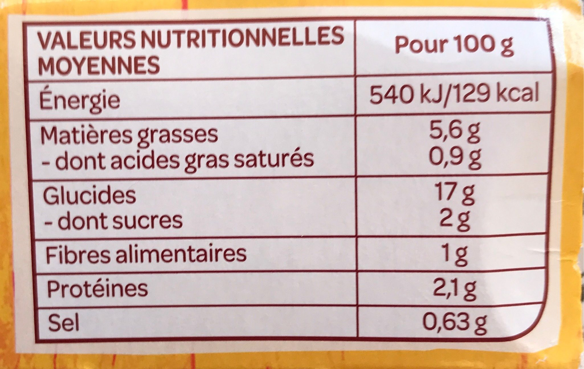 Fusilli sauce provençale - Informations nutritionnelles