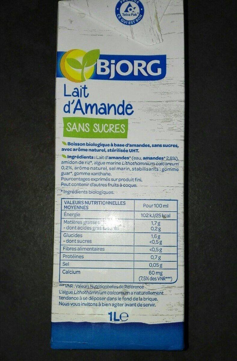 Lait d'amande sans sucres - Valori nutrizionali - fr