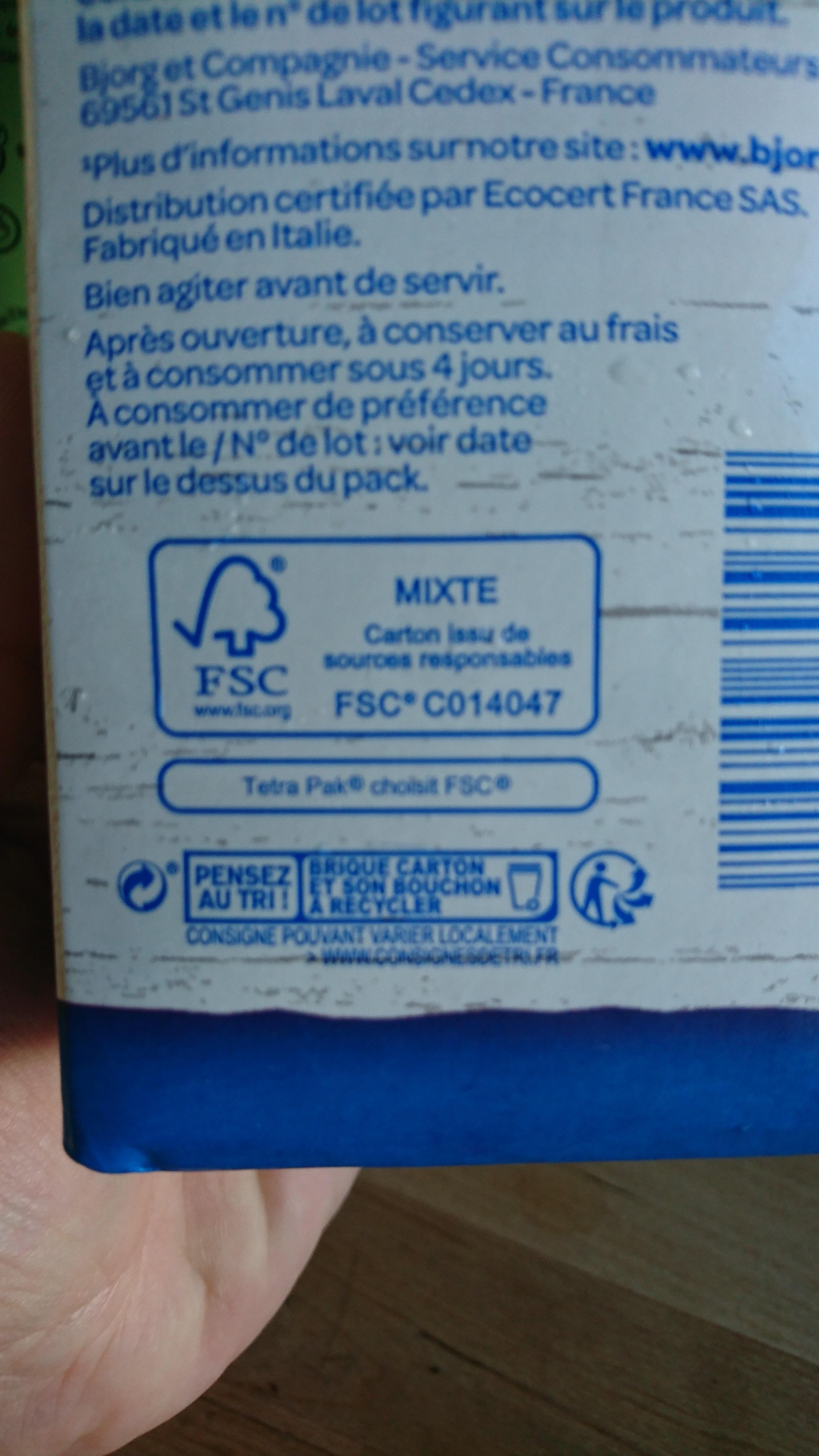 Lait d'amande sans sucres - Istruzioni per il riciclaggio e/o informazioni sull'imballaggio - fr