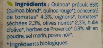 Quinoa Tomates Olives Bio - Ingredients - fr