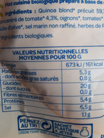 Quinoa Tomates Olives Bio - Nutrition facts