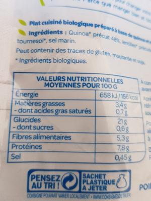 Quinoa lentille - Informations nutritionnelles