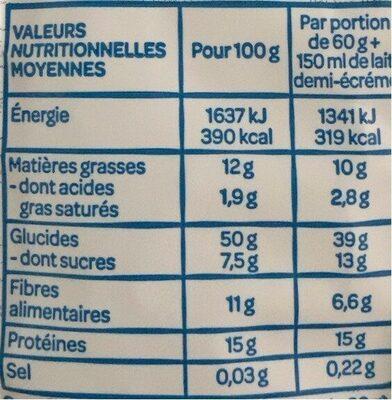 Flocon d'avoine - Voedingswaarden - fr