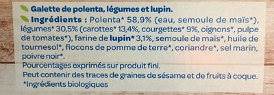 Galettes Polenta carottes courgettes lupin - Ingrédients - fr
