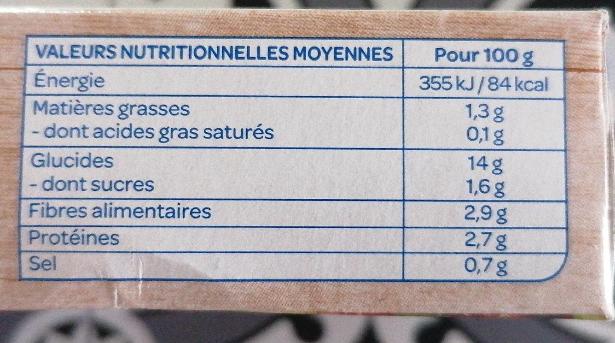 Galettes Polenta carottes courgettes lupin - Informations nutritionnelles - fr