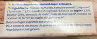 Galettes polenta epinards basilic lupin - Ingredients - fr